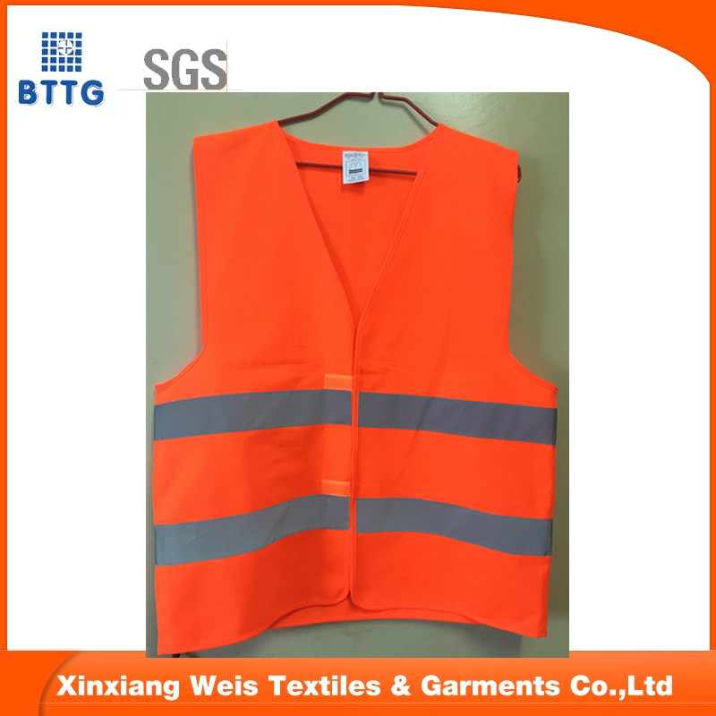 high visibility orange vest with reflective band